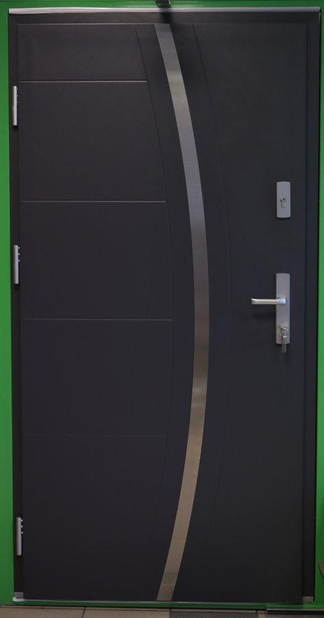 DEMO - WIKED M40 Optimum TERMO Mājas ārdurvis, Antracīta, Kreisais virziens, 106x206cm