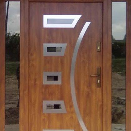 M21 durvis, zelta ozols, ar 2x sānu, 1x augšas REFLEX stikla paneļiem